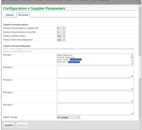 Set Supplier Parameters